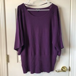 1X Cable & Guage 3/4 Sleeve Sweater